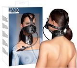 Kombinovaná kožená maska s obojkom
