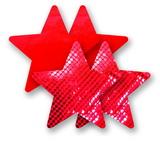 Ozdoby na bradavky - červené hviezdičky