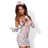Erotické šaty Obsessive Medica biele + stetoskop
