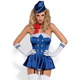 Erotický kostým Obsessive Stewardess modro-biely