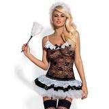 Erotický kostým Obessive Housemaid čierno-biely