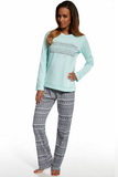 Dámske pyžamo Cornette 655103 Stars 3 tyrkysové