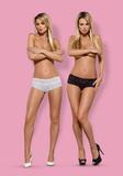 Erotické nohavičky Obsessive Lacea - 2-balenie biele-čierne