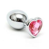 Análny kolík s krištáľom HEART silver-pink
